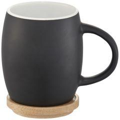 """Taza de cerámica de 400 ml con base de madera """"Hearth"""""""