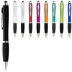 "Bolígrafo stylus de color con empuñadura negra ""Nash"""