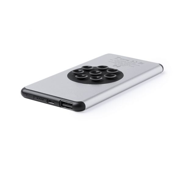 Power Bank Boxlem Inalámbrico. Ultradelgado. 5000 mAh. 1 Salida USB. Entrada Micro USB. Cable Incluido Aluminio