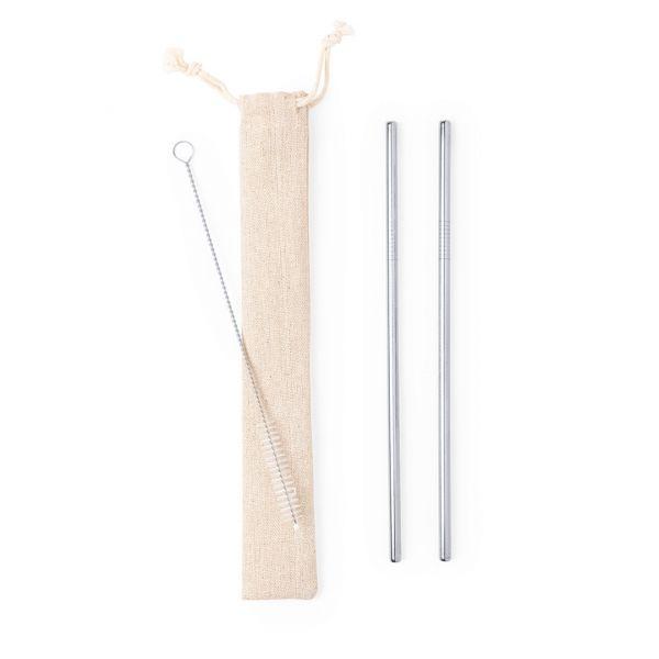 Set Pajitas Kalux 2 Piezas. Reutilizable. Limpiador Incluido Acero Inox