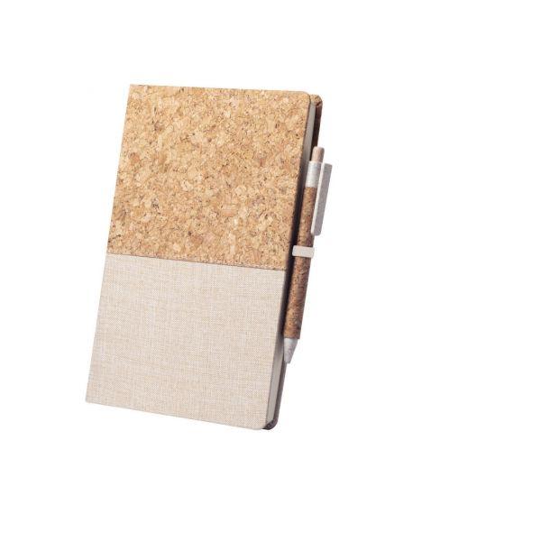 Bloc Notas Brastel Portada Rígida. 80 Hojas. Bolígrafo Corcho Natural/ Caña de Trigo/ ABS Incluido. Tinta Negra Corcho Natural/ Algodón