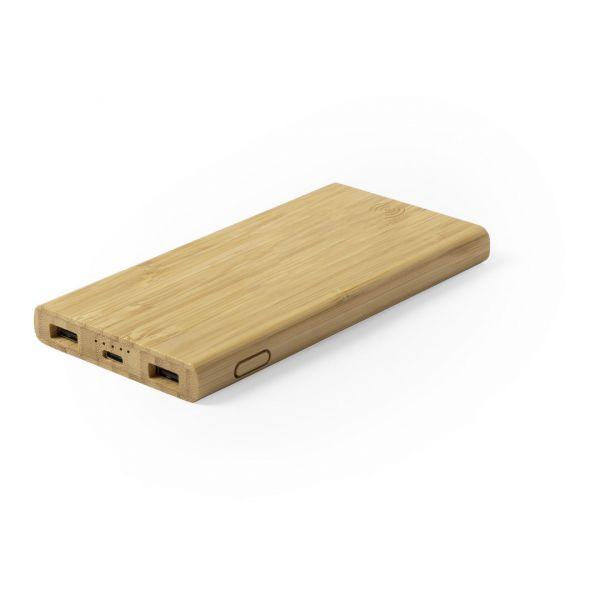 Power Bank Kalery Inalámbrico. 6000 mAh. 2 Salidas USB. Entrada Micro USB y Tipo C. Cable Incluido Bambú