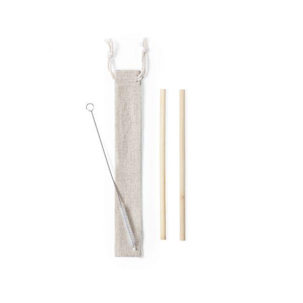 Set Pajitas Piltu 2 Piezas. Reutilizable. Limpiador Incluido Bambú