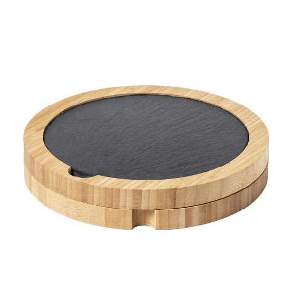 Set Quesos Pomel 5 Piezas. Tabla Pizarra Incluida Bambú / Acero Inox