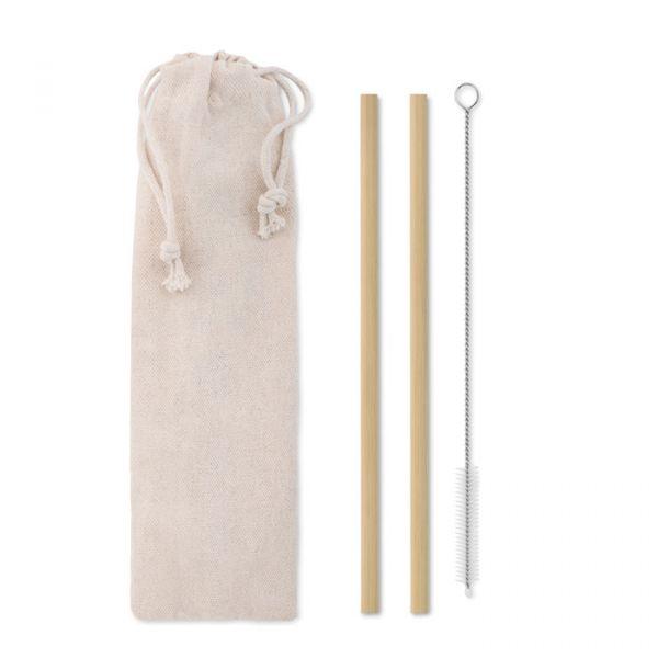 Pajita bambú cepillo funda